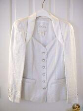 Sale ESCADA 38 8 COUTURE SUIT JACKET  SKIRT White Silver Bridal Wedding Designer
