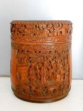 Boite à thé ancienne en bambou sculpté.Chine.Bois