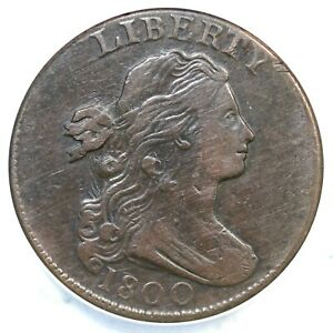 1800 S-209 R-3 ANACS VF 30 Details Draped Bust Large Cent Coin 1c