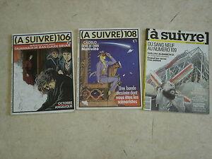 A SUIVRE Mensuel de la BD n° 106 + 108 + 109- Lot de 3 revues
