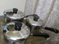 Vintage Lot of 3 REVERE WARE Copper Clad SAUCE PANS w/Lids 1.5 qt., 2 at., 1 qt?