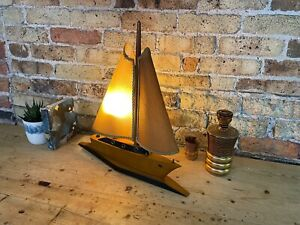 Stunning Mid Century Vintage Ship / Sailing Boat Table Lamp, c 1950's, Working