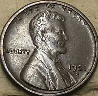 1921 -S Very Fine Lincoln Cent Wheat Penny. Lincoln Copper Wheat Small Cent.