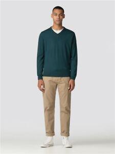 Ben Sherman Mens Merino Wool V neck Jumper. Peat Green.