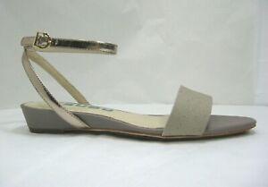 Tsubo Gansevoort size 6.5 Gray & Beige Low Wedge Ankle Strap Heels Open-toe