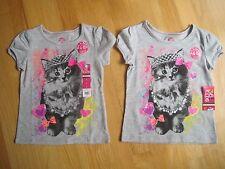 Twin girls PRINCESS KITTY CAT CROWN TIARA HEARTS BOWS GRAY tops shirts NWT 4