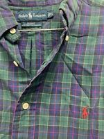 Men's Ralph Lauren Multi Check Plaid  Long Sleeve Polo Button Down X Large XL