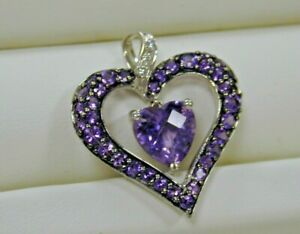 2.00 ctw Amethyst Pave Heart Shaped Pendant w/Diamonds~10K White Gold~Estate