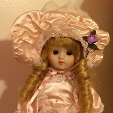 """Loomco Beautiful Curly Blonde Hair 15"""" Tall Porcelain Doll"""