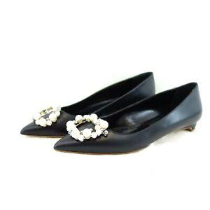 RUPERT SANDERSON Damen Schuhe Pumps Ballerinas Leder Schwarz Perlen Np 790 Neu