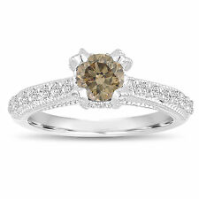 Platinum Fancy Cognac Brown Diamond Engagement Ring 0.82 Carat Handmade