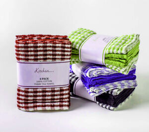 12 PACK MONO CHECK TEA TOWELS 100% COTTON TERRY TOWEL LARGE SIZE SUPER ABSORBENT