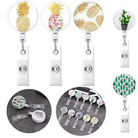 Card Stationery Pineapple Shape Badge Holder Flower Cactus Pattern Retractable