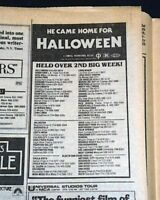 HALLOWEEN John Carpenter Slasher Film Michael Myers Movie AD 1978 L.A. Newspaper