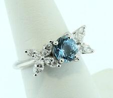 Tiffany & Co. Victoria Aquamarine Diamond Ring Size 5.75 With Tiffany Box