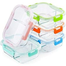 Glass Meal Prep Containers 2 Compartment Set, 5-Pack, 34oz, Bento Boxes For With