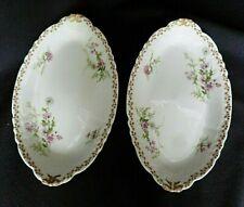 2 raviers en porcelaine de Limoges  décor fleurs sauvages