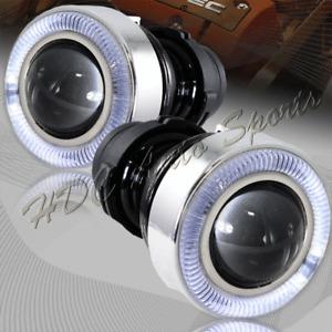 "3"" Angel Eyes Halo Projector Lens White LED Fog Driving Lights Kit Universal"