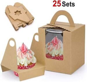 25pz Scatole Cupcake Singole Confezione Regalo Per Muffin/Torta Fata Con Manico