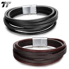 TT Multi Stripe Genuine Leather 316L Stainless Steel Clip Wristband (BR162) NEW