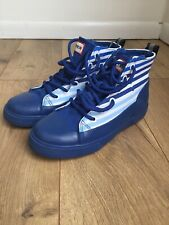 Hunter for Target Boys Dipped Boots Canvas High Top Sneakers Blue Striped Size 2