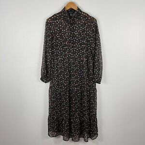 New Look Womens Dress 10 Black Floral Long Sleeve Collared Lined