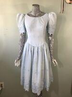 Vintage 80s Princess Cut Puff Sleeve Dress Prairie Gunne Sax Cotton Party Prom S