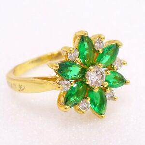 Women Green Flower Simulated Diamond Luxury Ring 7 N 24K Yellow Gold Plated UK