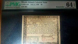 Pristine PMG MS 64 EPQ ! 1780 Rhode Island $8 Colonial Note