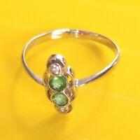 Antik Stil Exklusiver Jugendstil Echt 585 Weißgold Echte Diamanten + Smaragde