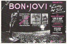 BON JOVI Living in Sin & UK tour dates magazine PHOTO / Pin Up / Poster 8x6 inch