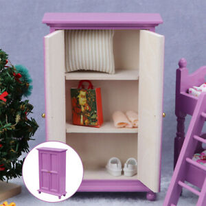 1:12 Scale Girls Wardrobe Doll House Accessories Bedroom Furniture Cabinet
