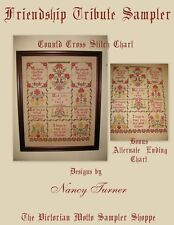 Friendship Tribute, Antique Sampler style counted cross stitch chart