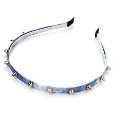 Fab Tie Dye Effect Denim Look Headband with Gold Tone Studs Goth Punk 8 mm wide