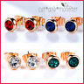 18K ROSE Gold GF Birthstone 1CT LAB Diamond SOLID LADY GIRLS STUD EARRINGS GIFT