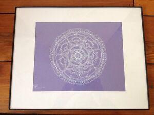 Vintage Framed Matted White Purple Detailed Floral Tibetan Asian Mandala Drawing