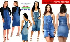 NEW PERFECT WOMEN S LADIES NEW BUTTON FRONT SEXY PINAFORE DUNGAREE DRESS 8 TO18