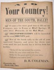 Civil War Recruiting Poster, Pensacola Florida, Confederate, wanted