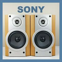 SONY Bookshelf Speakers HIFI 2 Way Bass Reflex Standmount Vintage Retro System