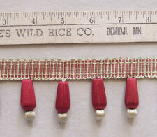 "Beaded Fringe Trim in Ruby Red & Gold 269"" Long Sewing Crafts"