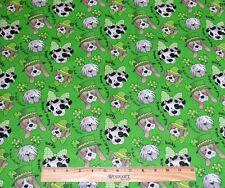 ST PATRICKS DAY FABRIC! IRISH DOGS! 16 BY 44 INCH PIECE! DALMATIAN~BASSET HOUND