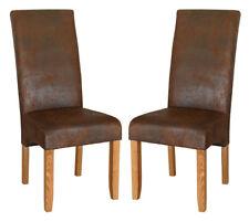 KMH® 2er Set Esszimmerstuhl Polsterstuhl Stuhl Sessel Wildlederoptik Holz braun