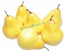 6 Pcs Plastic Decorative Fruit Artificial Pears Fake Yellow