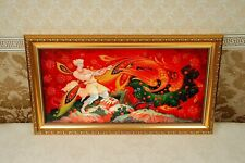 Wall Art Canvas Fairy Tale Firebird Framed Hand-painted Russian lacquer box art