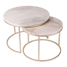 Set of 2 Real Marble Round Nesting Coffee Tables Brass Modern Contemporary