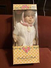Vintage 1996 Crowne Fine Porcelain Baby Girl Doll Brown Hair Nib Never Opened