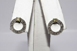 $1,100 .37CT NATURAL YELLOW & WHITE DIAMOND OPEN CIRCLE STUD EARRINGS 14K GOLD