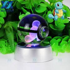 50 mm 3D DEL lumière nuit Pokemon aller SquirtIe Boule de Cristal Table Lampe De Bureau Cadeaux