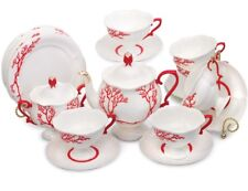 Russian Imperial Lomonosov Porcelain Coral Tea Set Service 20 pc Authentic