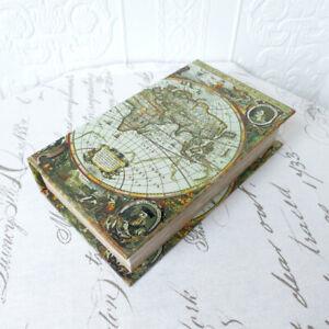 Buchattrappe Geschenkbox Buch Schatulle Safe Kiste Antik retro Weltkarte H22cm